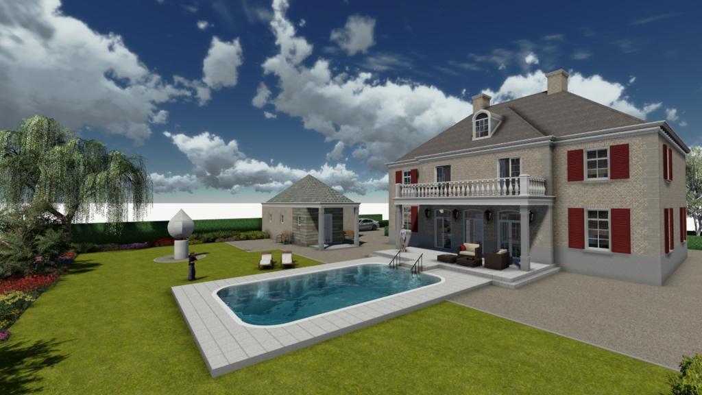 Impressie van achtertuin interactief 3D model