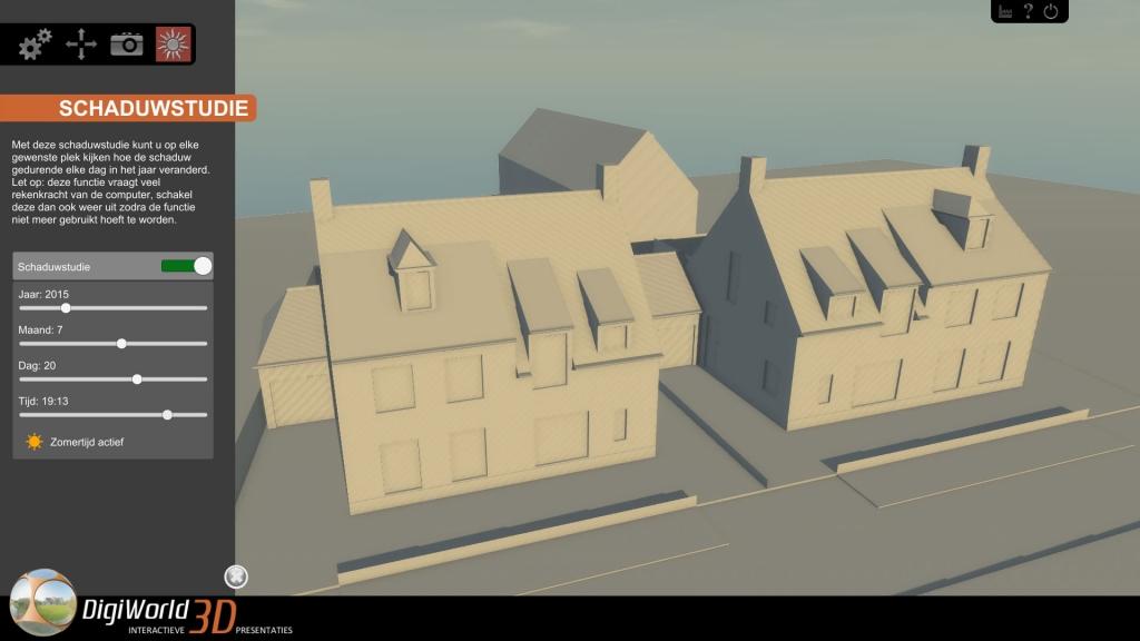 Accurate interactieve schaduwstudie in 3D